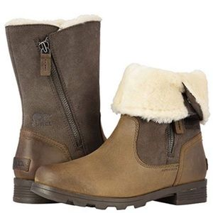 Sorel emelie faux shearling boots brown